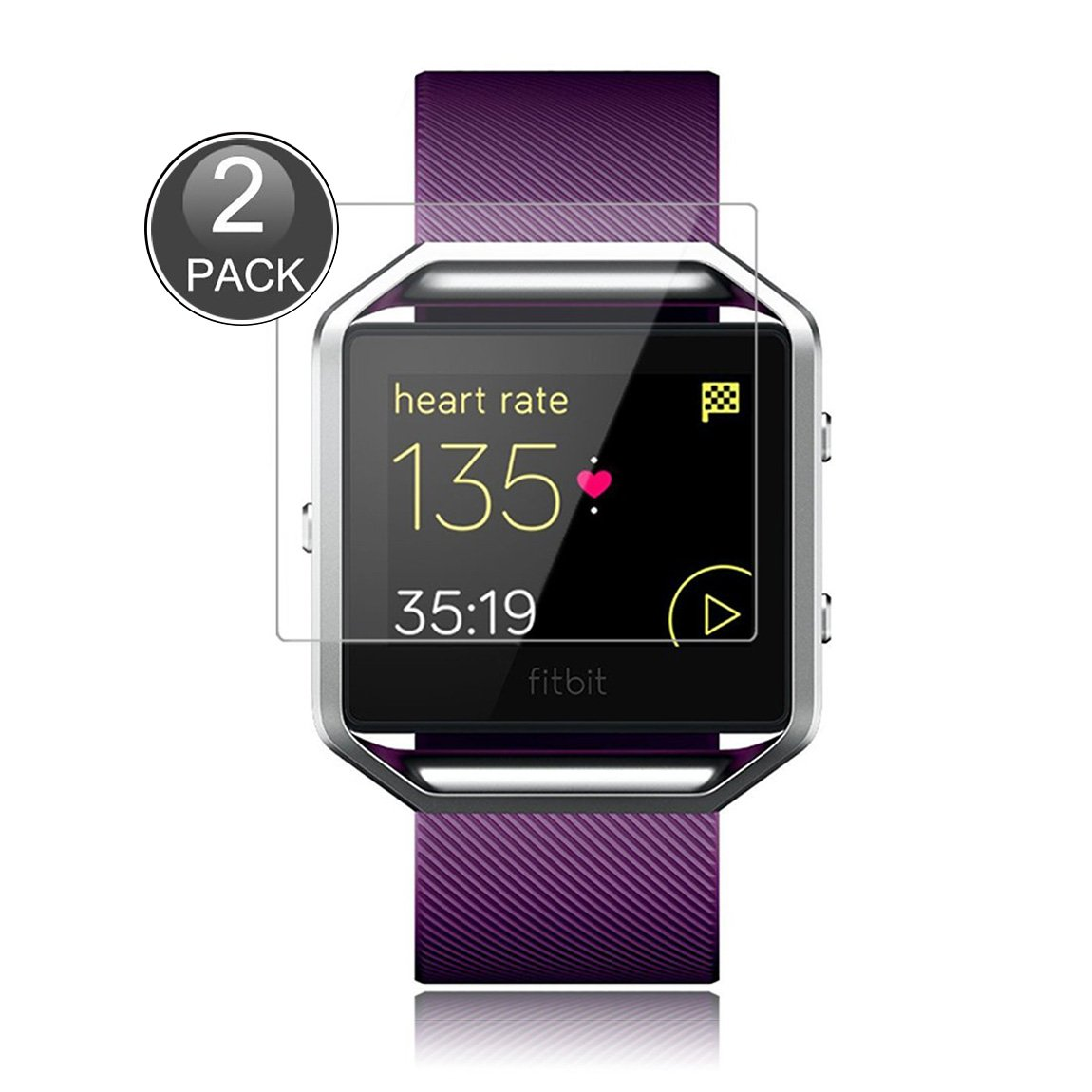 E-Hamii [2-Pack] Fitbit Blaze Protector de Pantalla, 0.26mm HD Anti-Scratch y Anti-huella digital Proteger la pelí cula, 9H Vidrio templado Cubierta protectora, Mejor protecció n 0.26mm HD Anti-Scratch y Anti-huella digital Proteger la pelícu