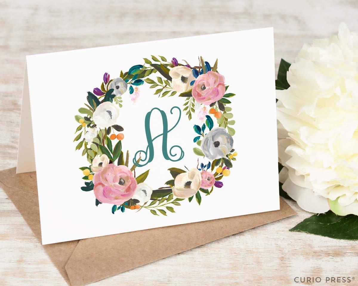 AMELIA MONOGRAM FOLDED Personalized Elegant Womens Stationery//Stationary Note Card and Envelope Set