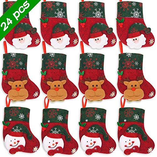 Ivenf Christmas Mini Stockings, 24 Pcs 6.25 inches Felt with 3D Santa Snowman Reindeer, Gift Card Silverware Holders, Bulk Treats for Neighbors Coworkers Kids, Small Rustic Xmas Tree Decorations Set
