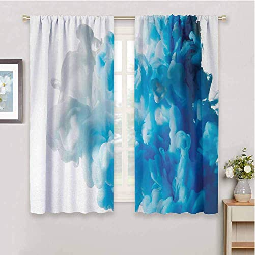 Curtain Panels Abstract Abstract Illustration Clouds Skyline Smoke Mixed Liquid Flow Movement Art Print Print Soundproof Privacy Window Curtains W108 x L84 Inch Blue White