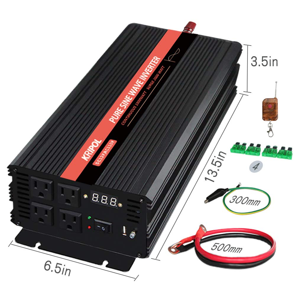 KRIPOL Pure Sine Wave Inverter 1000 Watt 12V DC to 110V AC Car ...