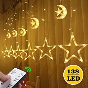 Quntis Christmas Decoration Curtain Lights - 138LEDs 12 Stars Moon Window Icicle Lights Remote Control Holiday Backdrop String Fairy Lights 8 Modes for Home Bedroom Wedding Party Wall, Warm White