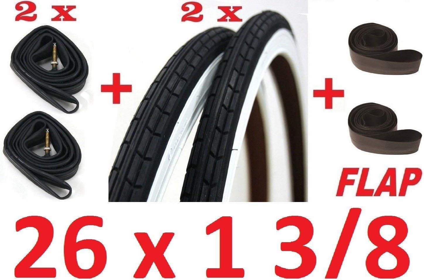 2 Neumáticos+2 Cámaras de Aire + Solapa Cubierta Rayos 26 X 1 3/8 ...