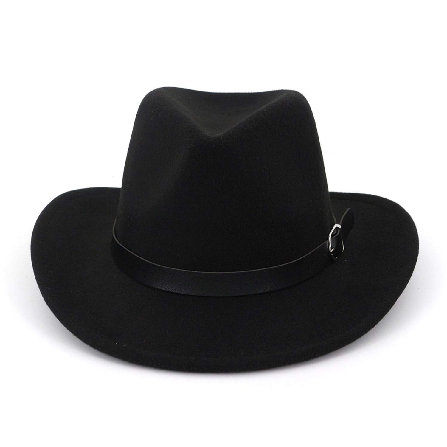 2019 Black Wool Hat for Winter Trilby Felt Fedora Hat Women Men Vintage Curling Brim Western Cowboy Style with