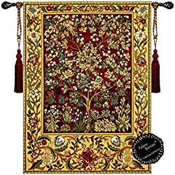 Fabric Bureau Beautiful Tree of Life (M-R) William Morris Fine Tapestry Jacquard Woven Wall Hanging Art Decor