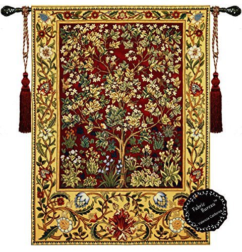 [Free Shipping] Beautiful Tree of Life (M-R) William Morris Fine Tapestry Jacquard Woven Wall Hanging Art (Italian Tapestry Wall Hanging)