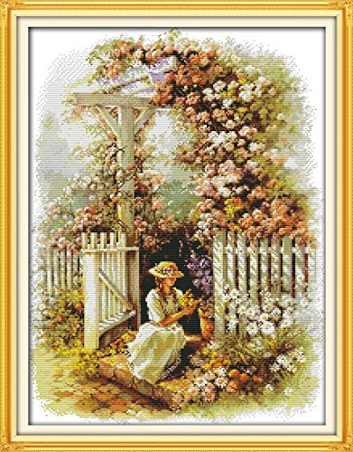 Happy Forever Cross Stitch Scenery, garden girl