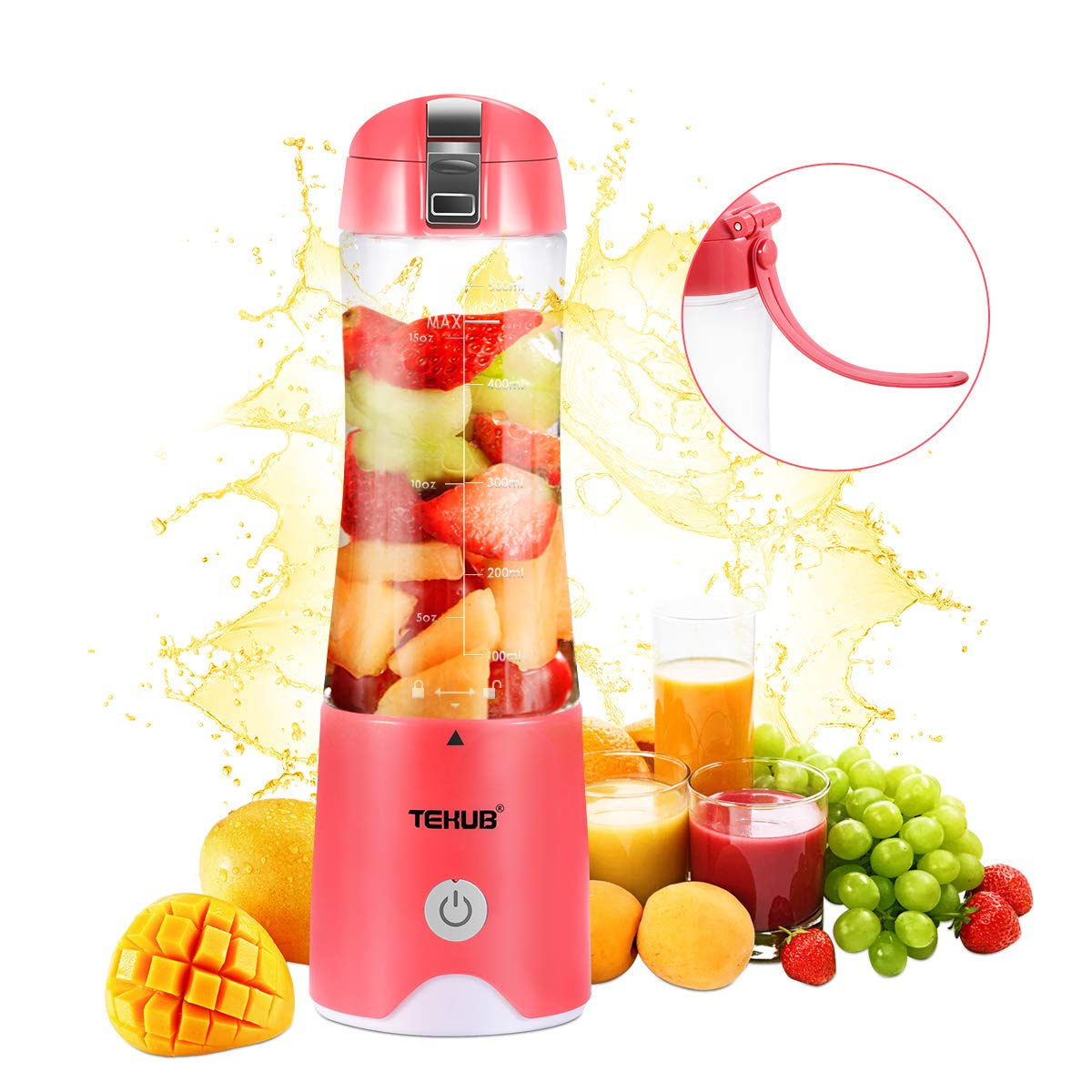 Portable Blender for Shakes Smoothies Small Travel Blenders Lightweight Cordless Mini Juicer Cup Personal Size Fruit Mixer USB Rechargeable Baby Food Blender Single Serving Juice Blend Jet by TEKUB