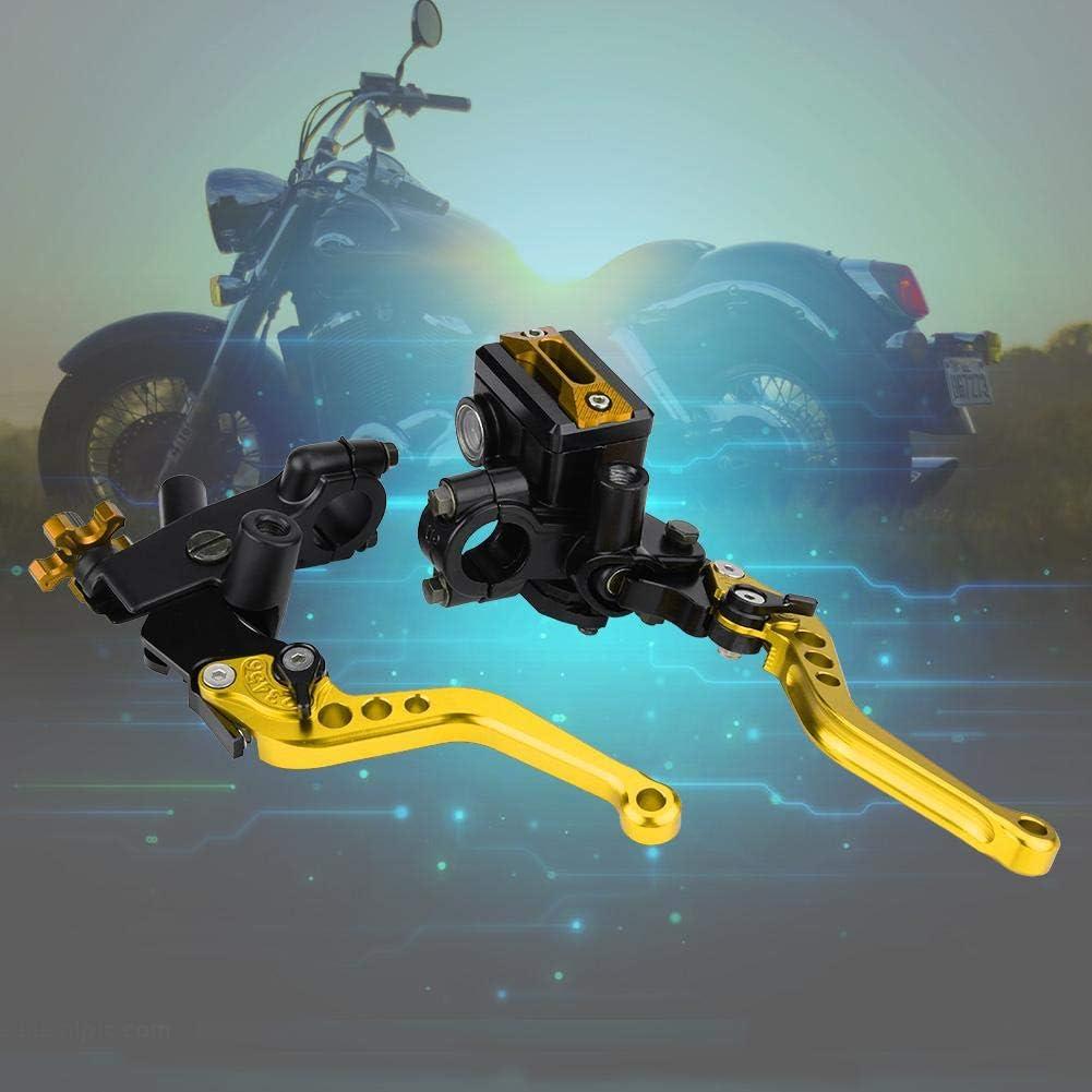 7//8 Zoll Universelle Hauptbremszylinderhebel 1 Paar Gold Lenker Motorrad-Hauptbremszylindersatz mit einstellbaren Hebeln und Fl/üssigkeitsbeh/älter f/ür die meisten Motorr/äder mit 22 mm