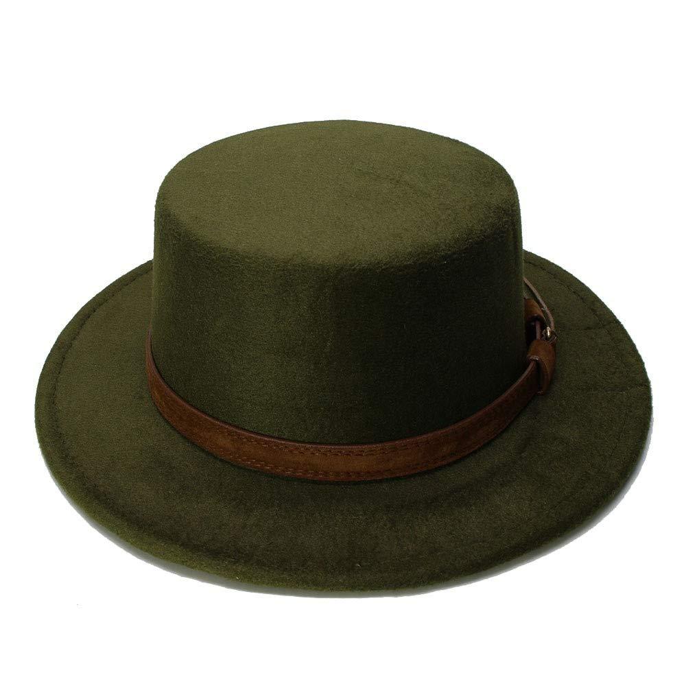 MUMUWU Vintage Wool Wide Brim Cap Pork Pie Porkpie Bowler Hat Solid Coffee Leather Band(54cm/Adjusted) (Color : Green, Size : 54cm) by MUMUWU (Image #2)