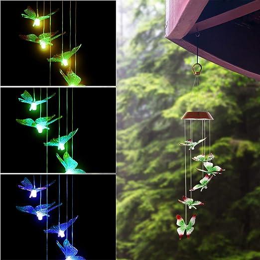 OSALADI - Mariposa Solar con energía Solar para Colgar en Exteriores, Luces Decorativas para jardín o Patio: Amazon.es: Jardín