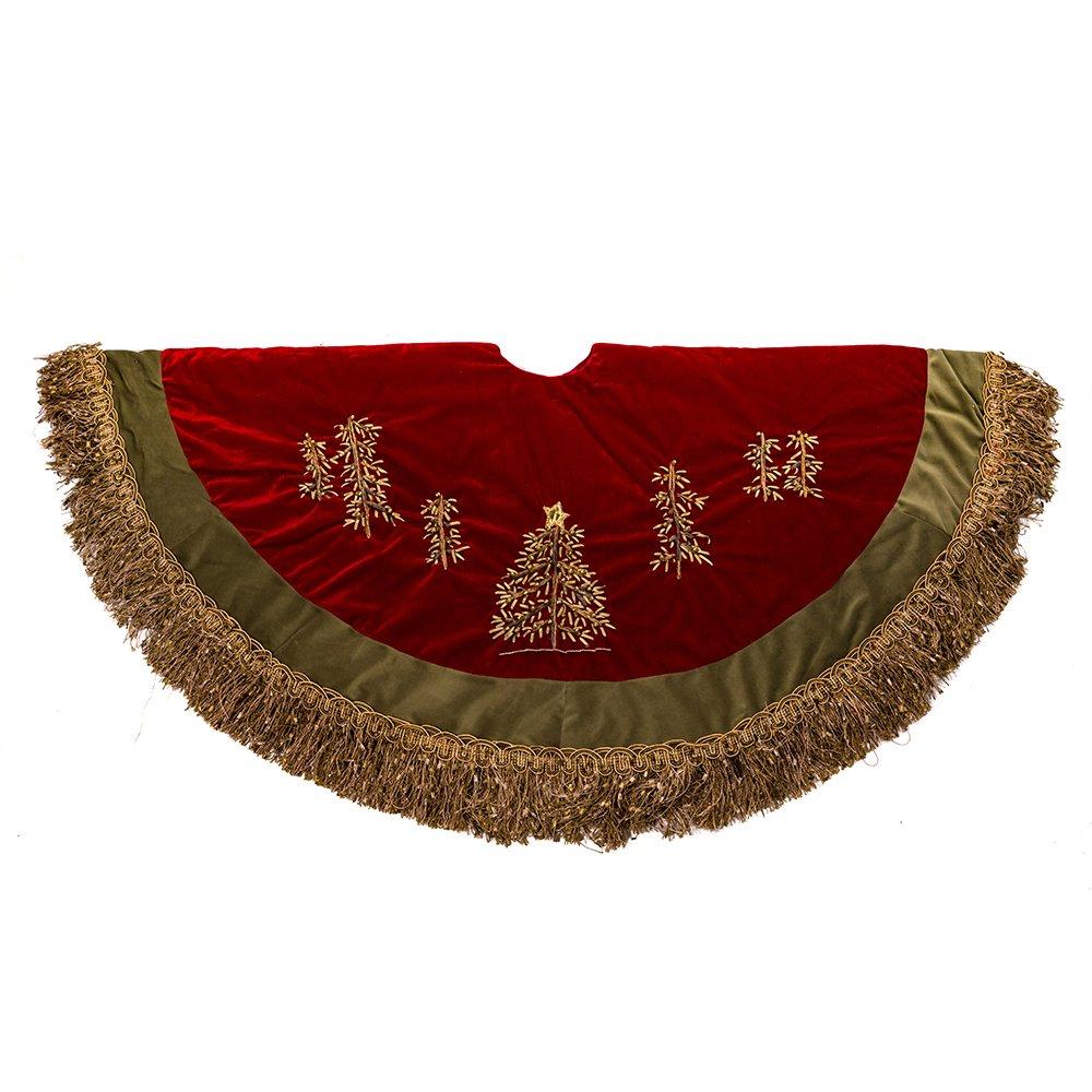 Kurt Adler 50-Inch Burgundy Ribbon Trees Tree skirt with Green Tassel Border YAMC1202