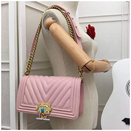 9fe590ef4264 Image Unavailable. Image not available for. Color  Boy Double C Bag 67086  7012V Grained Calfskin Ladies  Handbag Gold-Tone Metal Chain