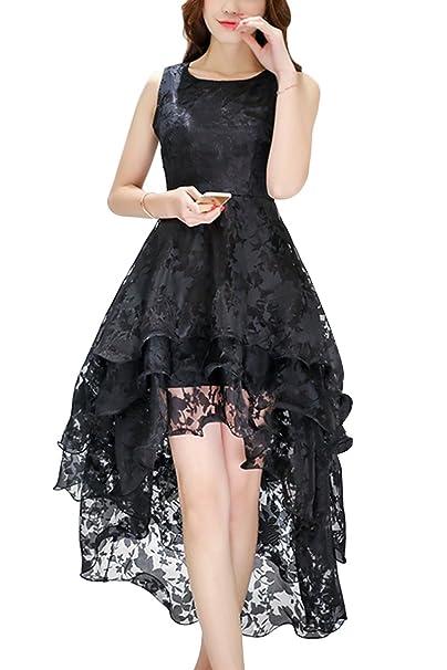 a34f4f8b8b89 Bai You Mei Women s High Low Cocktail Dress Sexy Party Lace Irregular Multi  Layer Sleeveless Club