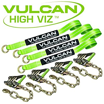 VULCAN Lasso Auto Tie Down with Chain Anchors - 2 Inch x 96 Inch, 4 Pack - High-Viz - 3,300 Pound Safe Working Load: Automotive