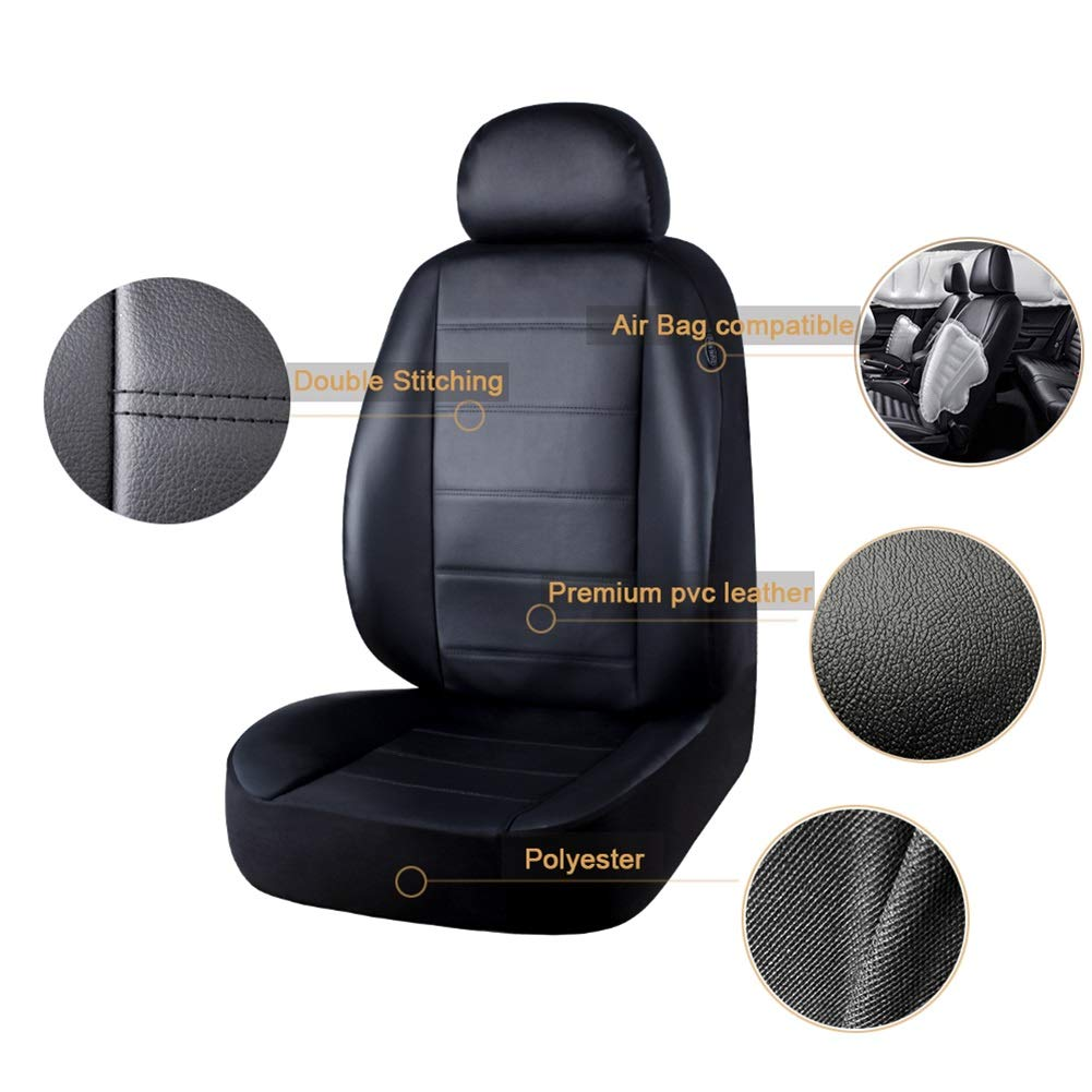 AUTO HIGH 11-Pieces Car Seat Covers Full Set Black #1 Fits Most Car Truck Van SUV Premium Faux Leather Automotive Front and Back Seat Protectors