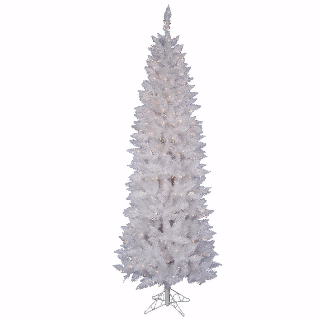 Vickerman Sparkle White Pencil Tree with Dura-Lit 350 Clear Lights, 7.5-Feet by 34-Inch