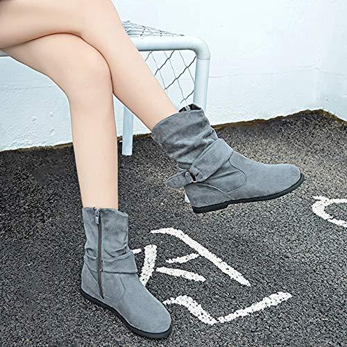 Impostato Shoes ragazze Grigio Piatti Caviglia Stivali Mezzo Stivali Vintage Martin Con Stivali Morbido Stivaletti Donne Cerniera Stivali Moda Italily Inverno Autunno Classici Scarpe 1qB6wc0