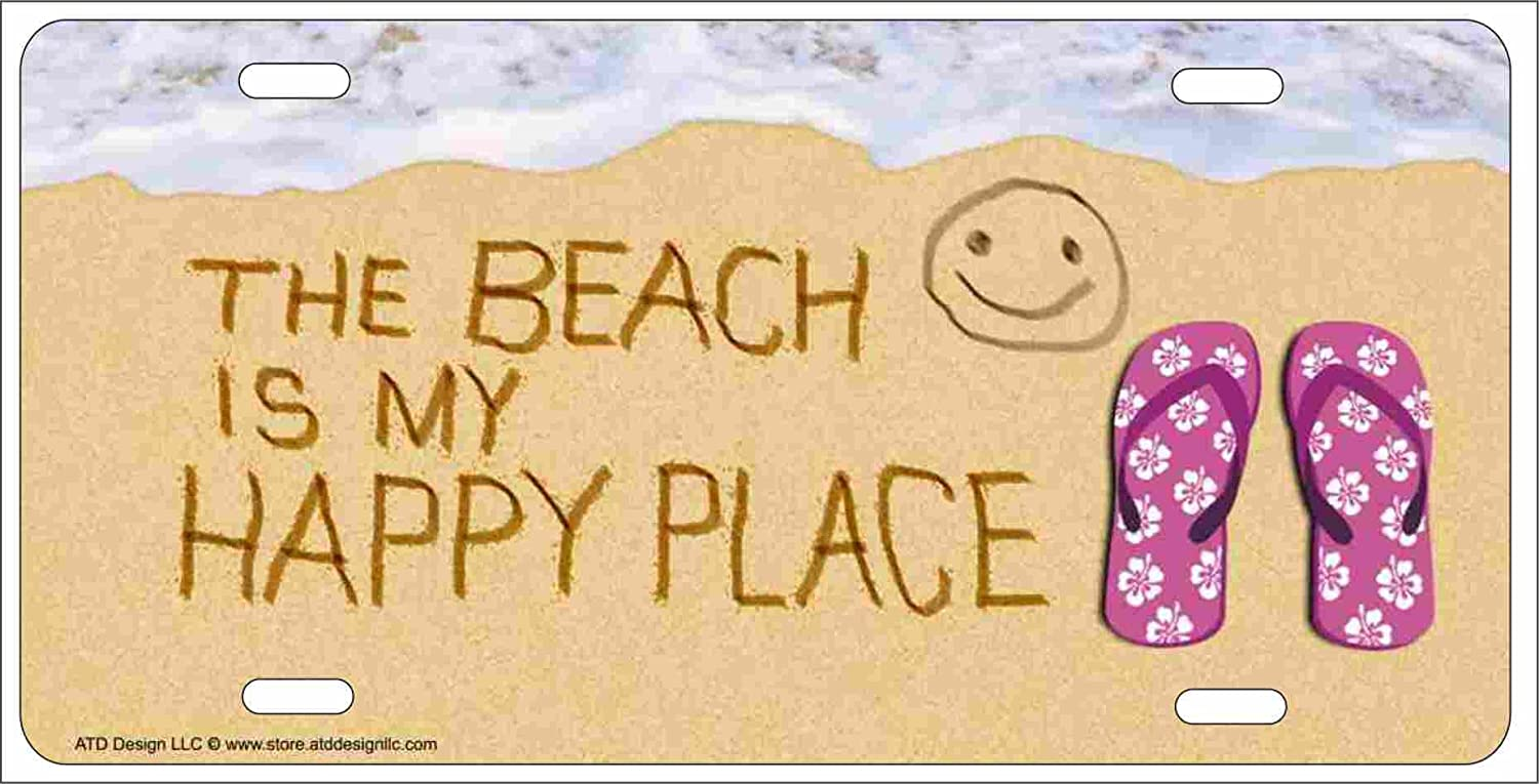 The Beach Is My Happy Place Beach Scene Smiley Face in the Sand Personalized Novelty License Plate Decorative Car Tag