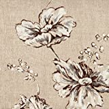 Summer's Night Linen Beige Floral Ruffled Euro Shams Set of Three, Lined Cotton