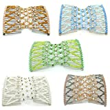 Casualfashion 4Pcs EZ Combs COMBO Hair Styling Bands As Seen On TV - Crystal Rhinestone EZ Stretchable Double Combs Fabulous Hairstyles Instantly