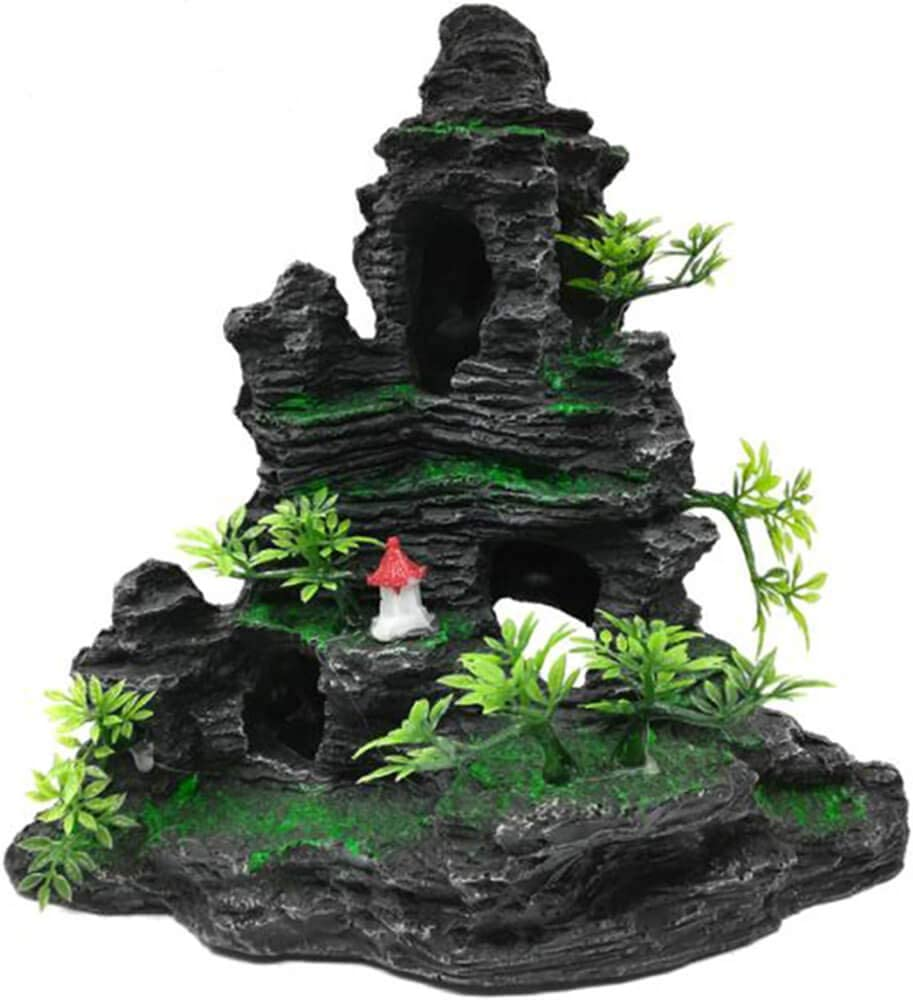 AVOICE Aquarium Mountain View Stone Ornament Tree Rock Cave Fish Tank Decorations with Small Pavilion