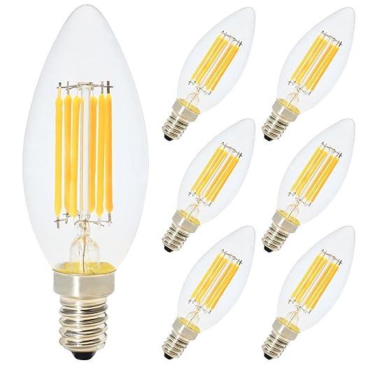 6X E14 Edison 6W C35 Bombilla Filamento LED, 500 Lumen, Equivalente 60W, Blanco