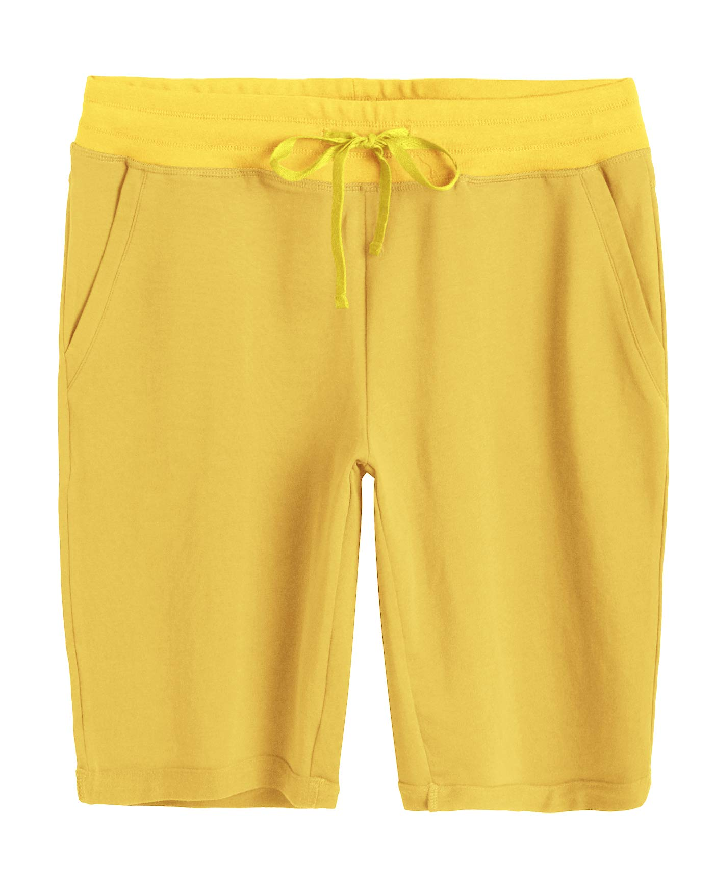 Weintee Women's Cotton Bermuda Shorts with Pockets M Mustard by Weintee