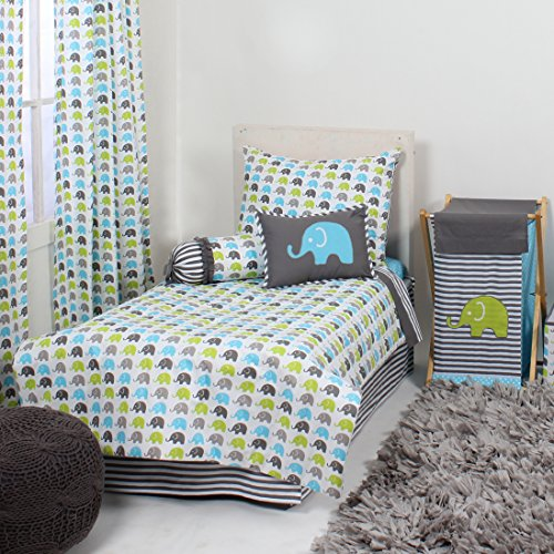 Bacati Elephants 4 Piece Toddler Bedding Set, Aqua/Lime/Grey