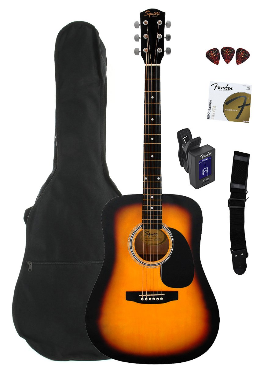 Fender Squier S1422065 Acoustic Guitar Sunburst With Gig Bag Stand Gitar Import Tuner Strap And Picks Musical Instruments