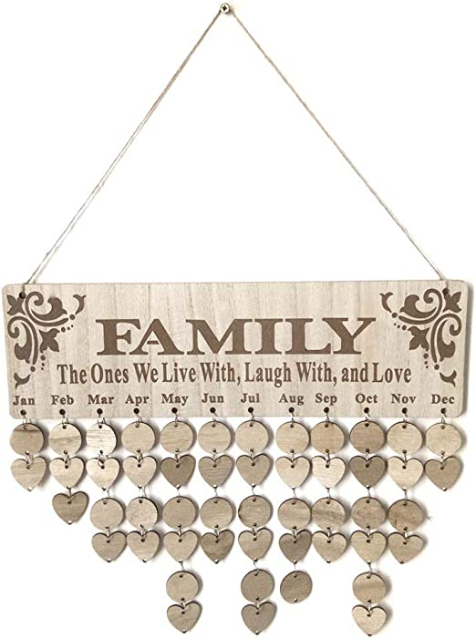 Amazon.com: SUPVOX Wooden Family Birthday Reminder Board Plaque