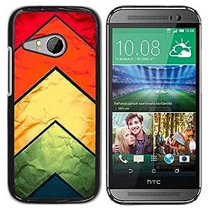 Qstar Arte & diseño plástico duro Fundas Cover Cubre Hard Case Cover para HTC ONE MINI 2 / M8 MINI ( Chevron Kite Fabric Silk Textile Rainbow Pattern)