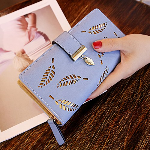 Multipockets Long Clutch ShiningLove Hollowed Women Wallet Purse Leather Leaf Bifold Blue Rqd0q