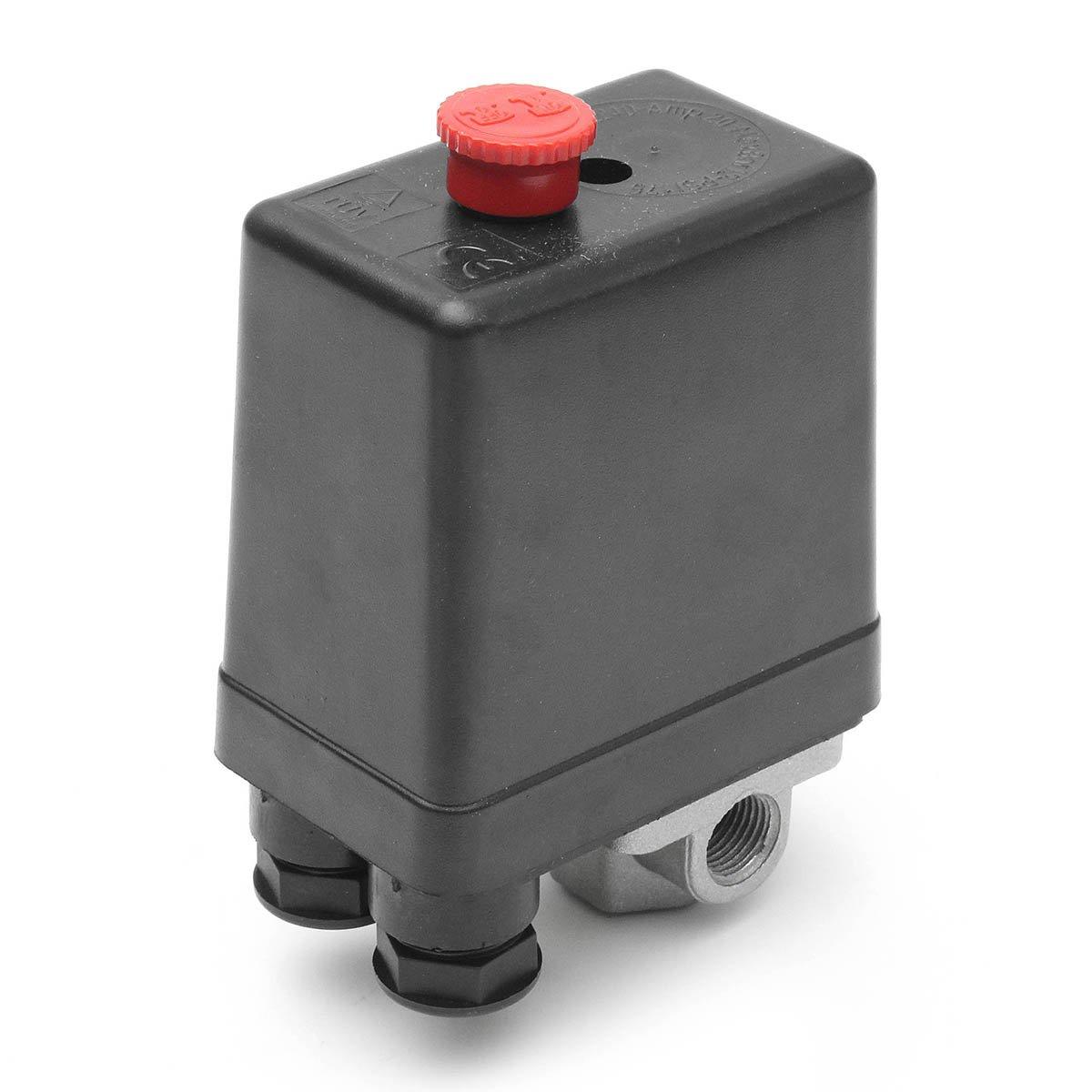 MASUNN 220V 1/4Inch Bsp 4 Puertos Compresor De Aire Monofásico Presostato con Manómetro De Válvula De Seguridad: Amazon.es: Hogar