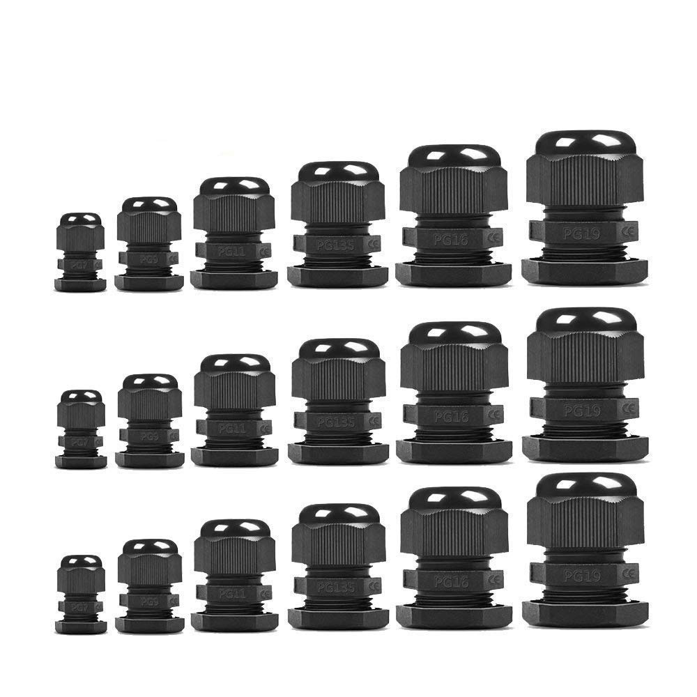 Care4U Cable Glands, 45 Pack Waterproof Nylon Adjustable 3-16mm Cable Glands Joints Connector, PG7, PG9, PG11, PG13.5, PG16, PG19