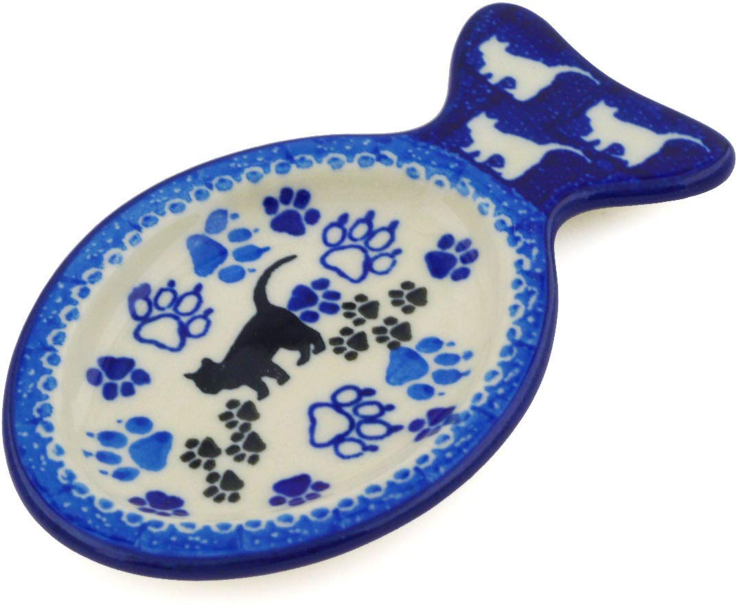 Boo Boo Kitty Paws Theme Polish Pottery 5-inch Tea Bag or Lemon Plate made by Ceramika Artystyczna Certificate of Authenticity