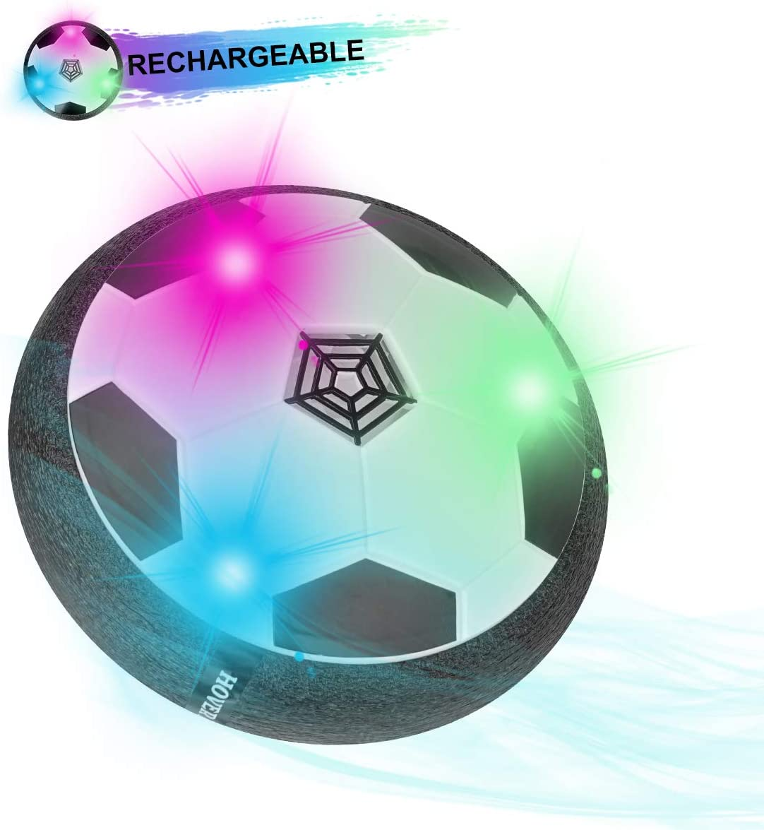Herefun Air power Football Kids Toys Birthday Gifts for Boys Girls Toddlers Summer Sport Ball Games Indoor Outdoor Hover Floating Soccer Ball Rechargeable with Colorful LED Light Foam Bumper