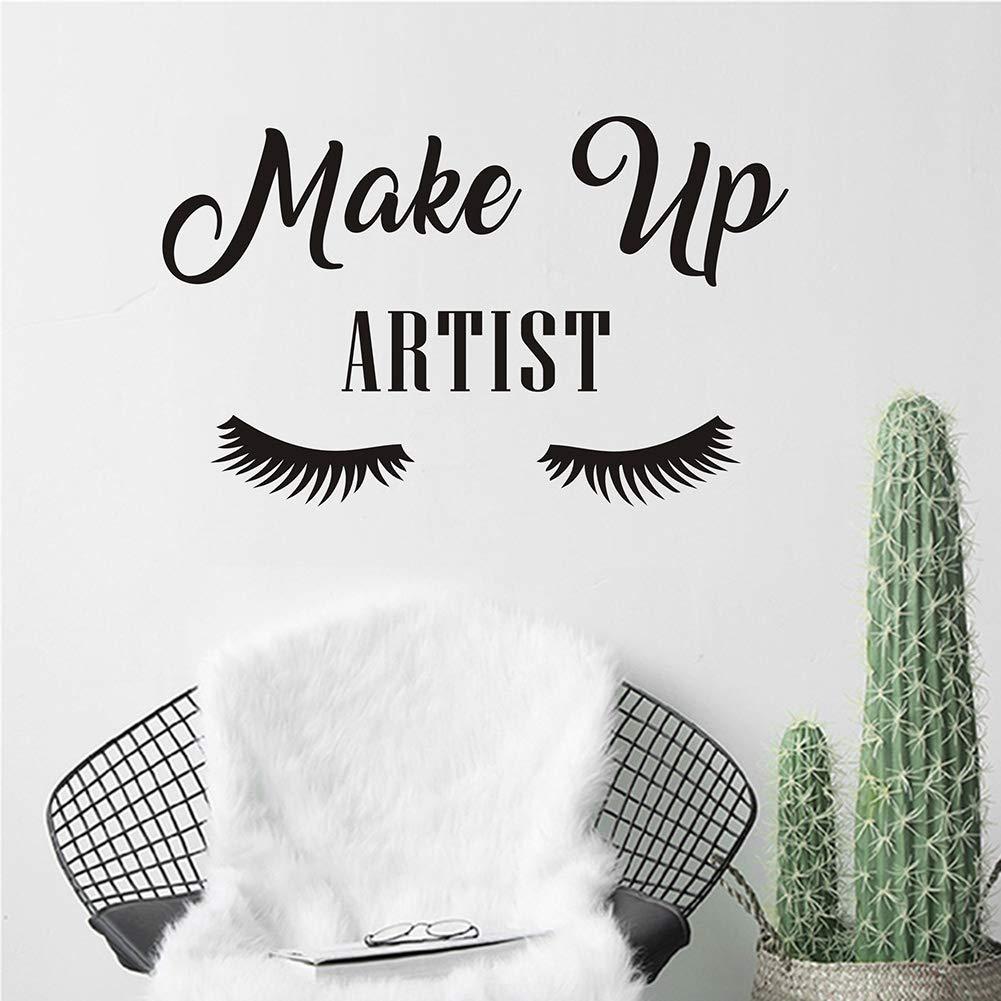 JUEKUI Make Up Artist Eyelash Wall Decal Girl Eyelash Wall Sticker Women Beauty Quote Sticker for Bedroom Makeup Decor WS70 (Black, M 57x35cm)