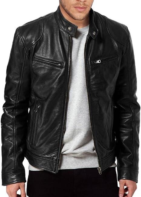 The Leather Factory Men/'s SWORD Black Genuine Lambskin Leather Biker Jacket