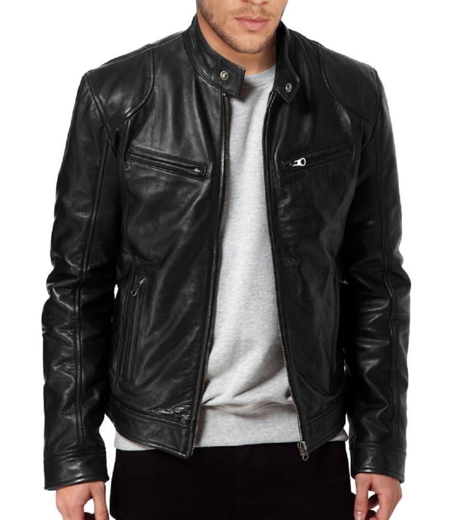 The Leather Factory Men's Sword Black Genuine Lambskin Leather Biker Jacket 2701-XS-Black-$P
