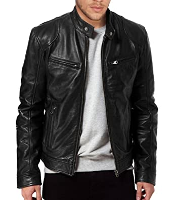 64b8696f65 The Leather Factory Men's Sword Black Genuine Lambskin Leather Biker Jacket  at Amazon Men's Clothing store:
