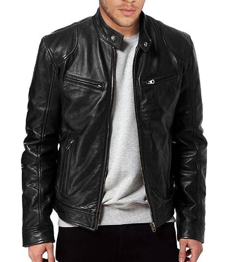 377972432 The Leather Factory Men's Sword Black Genuine Lambskin Leather Biker Jacket