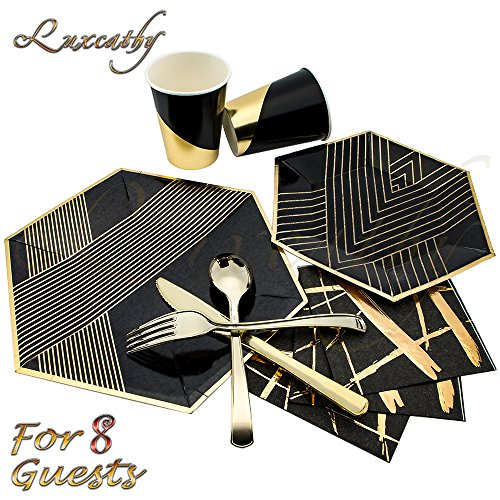 Luxcathy-8-Guests-Hexagon-Gold-Foil-Disposable-Tableware-Set-8-Dinner-Plates-8-Salad-or-Dessert-Plates-8-Cups-20-Napkins-8-Gold-Plating-Plastic-Forks-Knives-Spoons