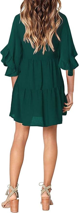 Asvivid Damska-Tunika-Kleid, legeres Tunika-Kleid, Leopardenmuster, V-Ausschnitt, fließend, schwingend, lose Tunika-Kleid: Odzież