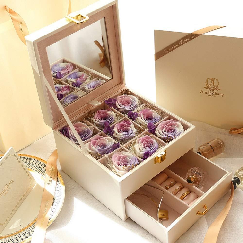 永遠のバラ 保存されたLEDの花本当に永遠にバラプレミアム不滅の花色とりどりのライトで永遠のバラ最高の贈り物誕生日母の日バレンタインの日の結婚式 バレンタインデーの贈り物 (色 : 紫の) B07QKRQ3RH