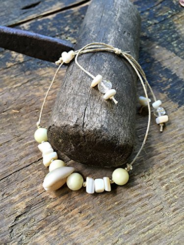 Adjustable Handmade Hemp Bracelet, Cowrie Shell and Mother of Pearl, Quartz Gemstone, Seven (Shell Gemstone)