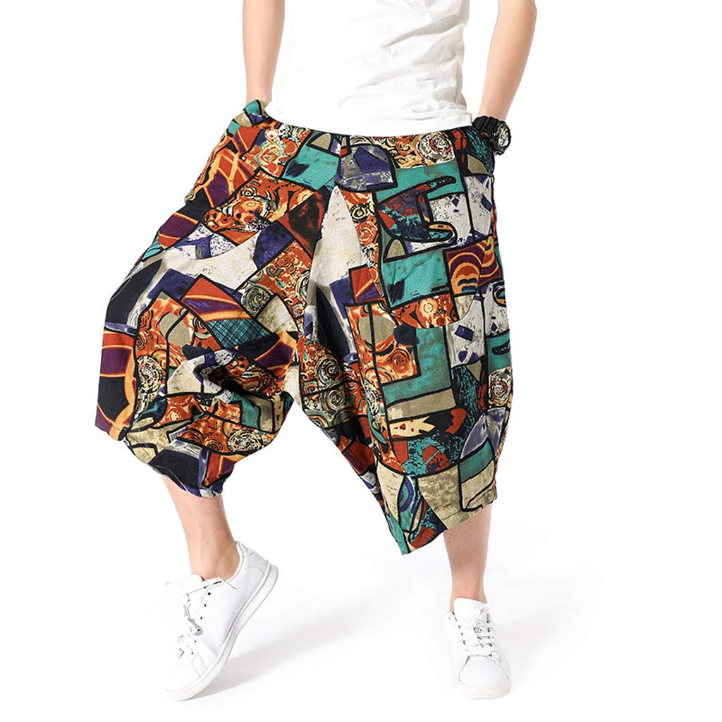 wodceeke Large Size Cotton Linen National Wind Harem Pants Wide-Legged Bloomers Baggy Cropped Trousers