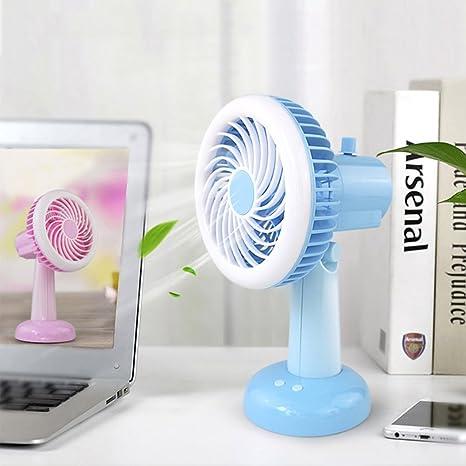 Threecat TDC Escritorio Ventilador USB, Ventilador silencioso con LED Luz, portátil fácil Fan,