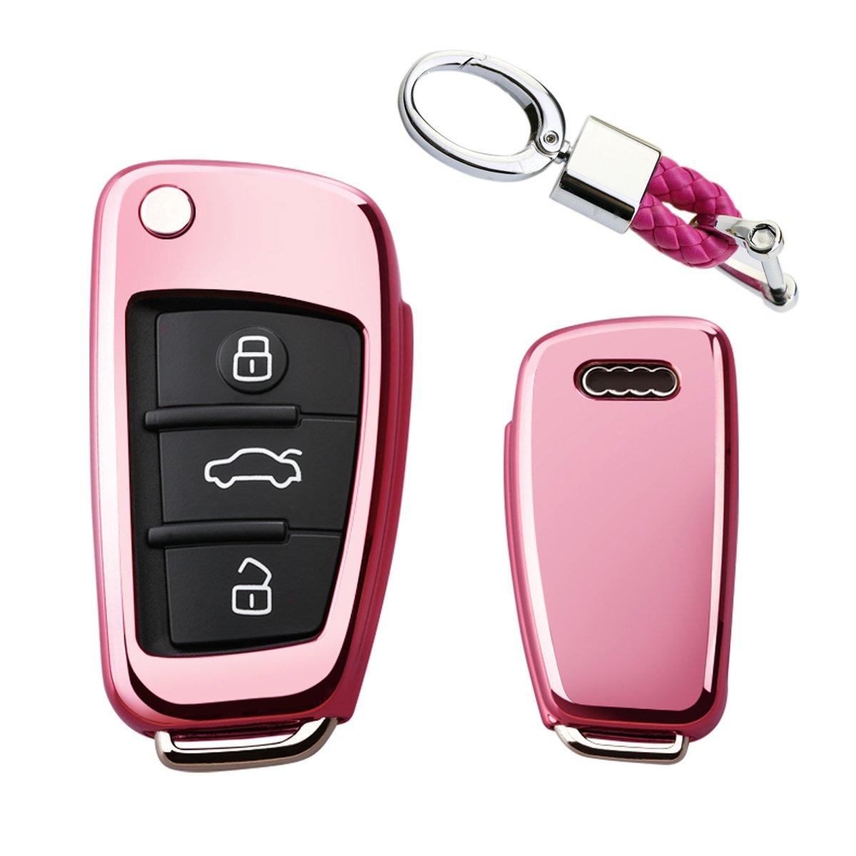 カイゼンキーレスエントリーリモートキーFobカバーソフトTPUケースwithダイヤモンドタッセルキーチェーンfor Audi a3 q3 q7 a1 s3 a6l 3ボタンフリップキー key cover+braided cord keychain ピンク TPUKC046 B07CNNTLLY key cover+braided cord keychain ピンク ピンク key cover+braided cord keychain