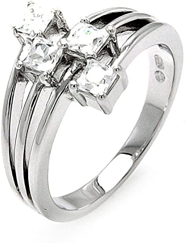 Princess Kylie Clear Cubic Zirconia Open Clover Ring Sterling Silver